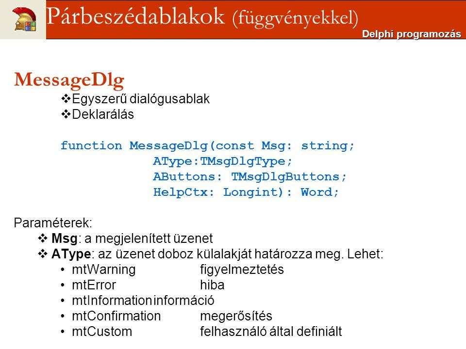 MessageDlg  Egyszerű dialógusablak  Deklarálás function MessageDlg(const Msg: string; AType:TMsgDlgType; AButtons: TMsgDlgButtons; HelpCtx: Longint)