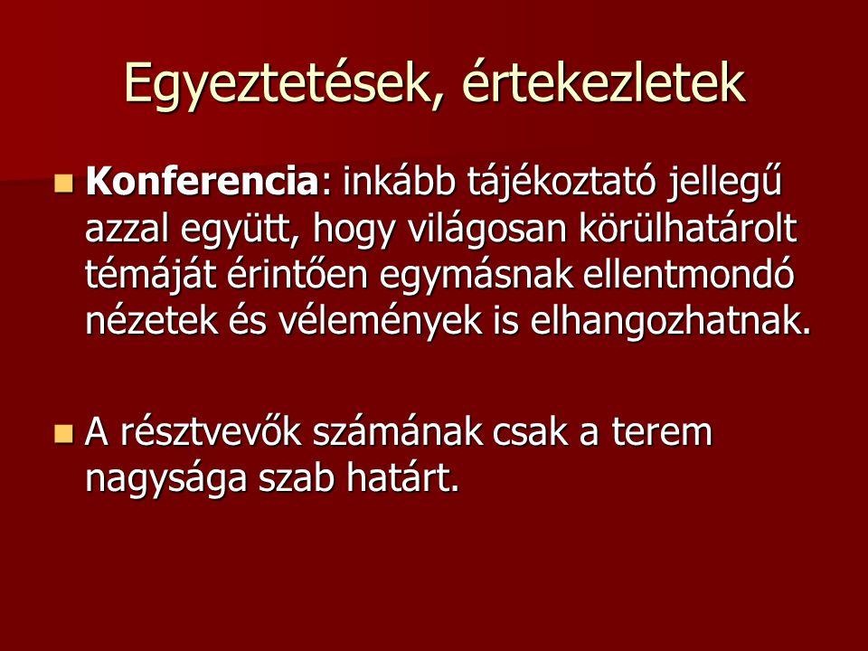 Egyeztetések, értekezletek Konferencia: inkább tájékoztató jellegű azzal együtt, hogy világosan körülhatárolt témáját érintően egymásnak ellentmondó n