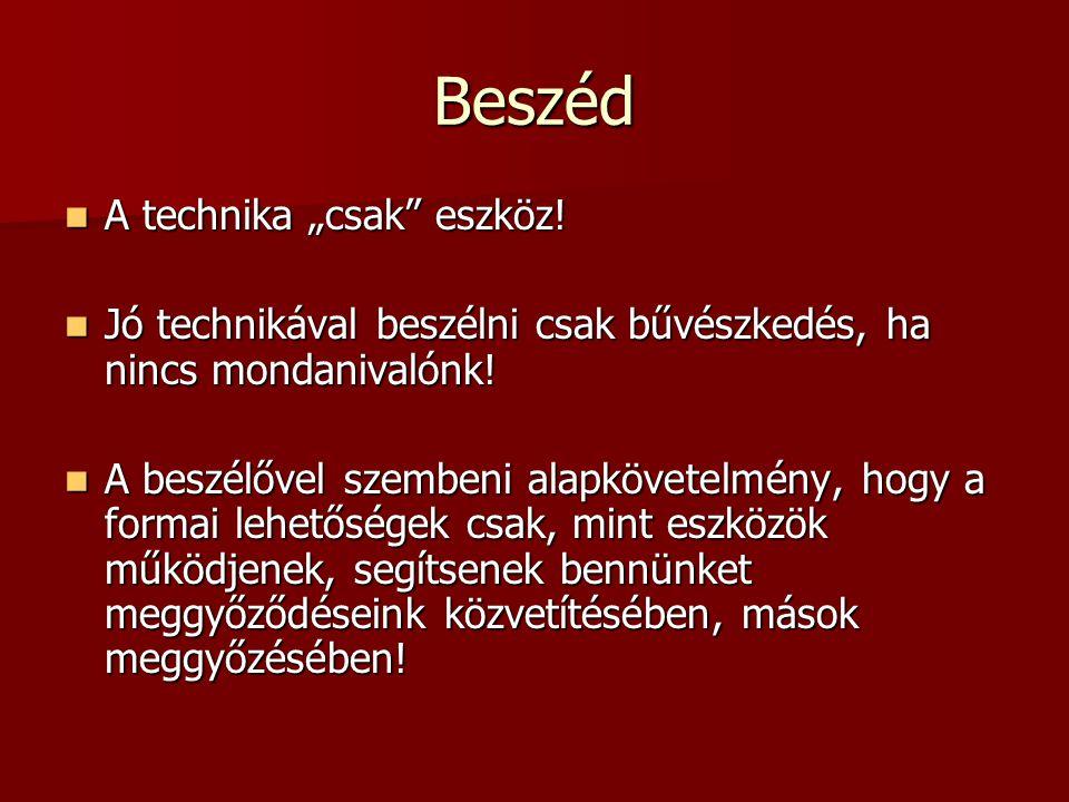 """Beszéd A technika """"csak"""" eszköz! A technika """"csak"""" eszköz! Jó technikával beszélni csak bűvészkedés, ha nincs mondanivalónk! Jó technikával beszélni c"""