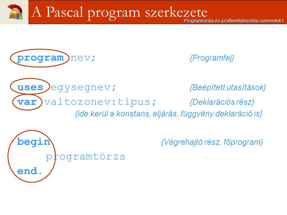 program nev; {Programfej} uses egysegnev; {Beépített utasítások} var valtozonev:tipus; {Deklarációs rész} {ide kerül a konstans, eljárás, függvény dek