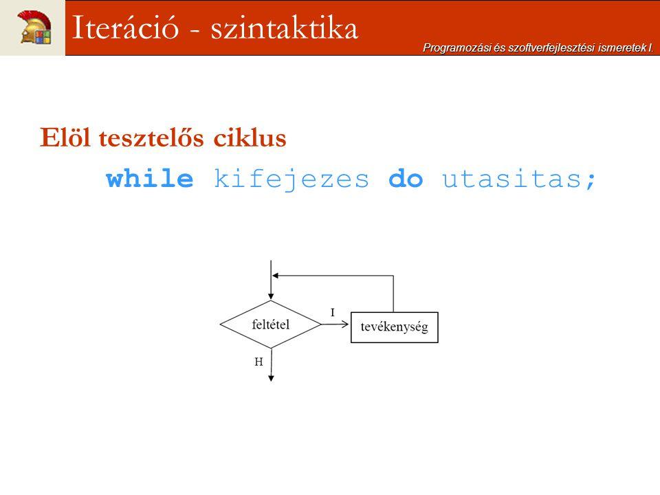 Elöl tesztelős ciklus while kifejezes do utasitas; Programozási és szoftverfejlesztési ismeretek I. Iteráció - szintaktika