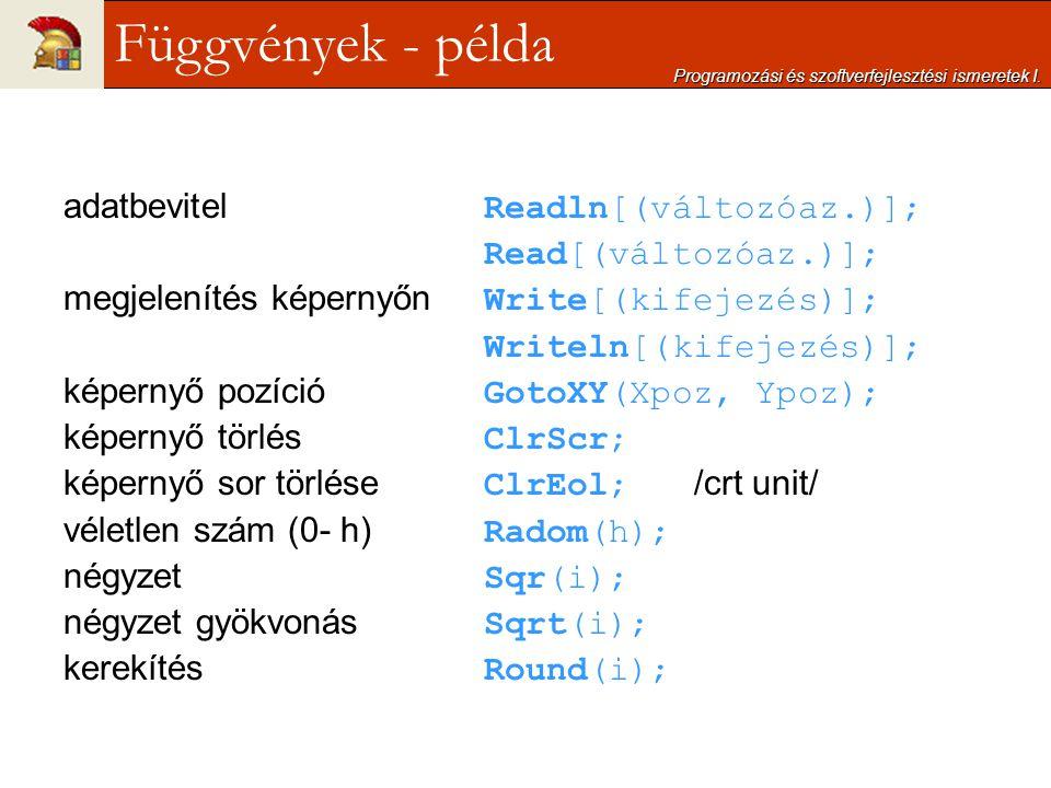 adatbevitel Readln[(változóaz.)]; Read[(változóaz.)]; megjelenítés képernyőn Write[(kifejezés)]; Writeln[(kifejezés)]; képernyő pozíció GotoXY(Xpoz, Y