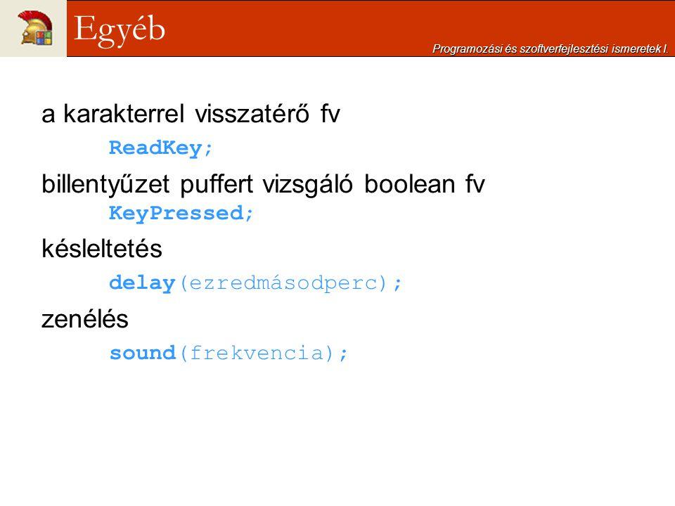 a karakterrel visszatérő fv ReadKey; billentyűzet puffert vizsgáló boolean fv KeyPressed; késleltetés delay(ezredmásodperc); zenélés sound(frekvencia)