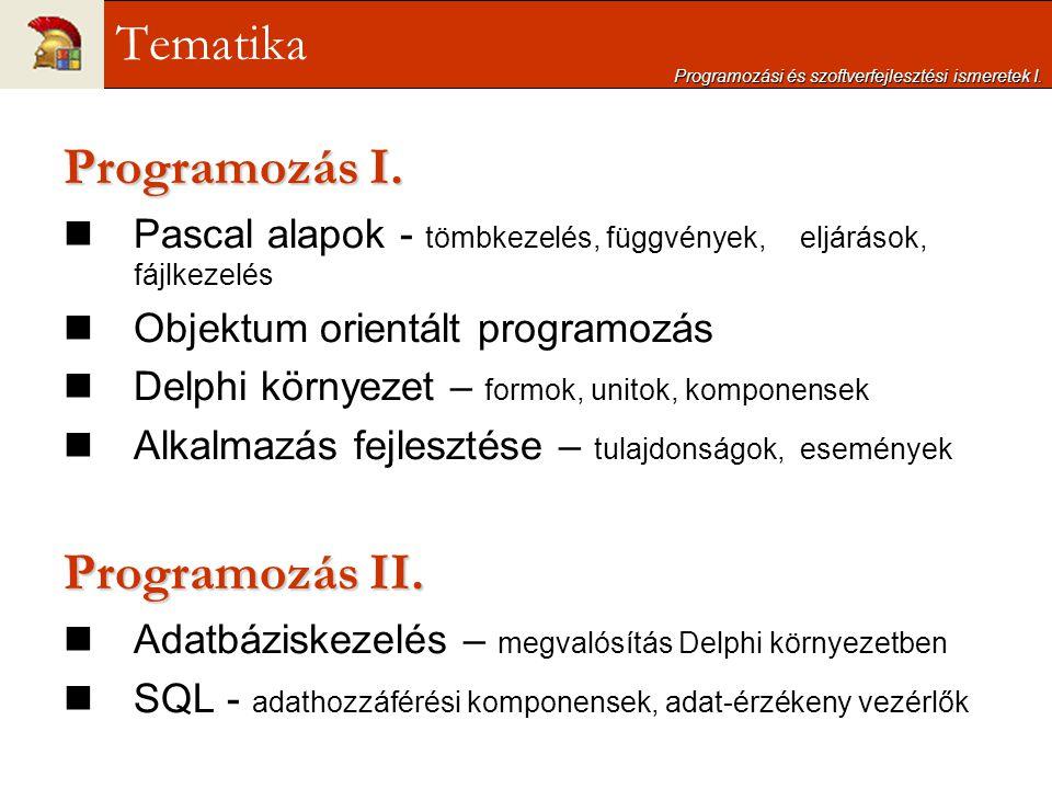 Programozás I. Pascal alapok - tömbkezelés, függvények, eljárások, fájlkezelés Objektum orientált programozás Delphi környezet – formok, unitok, kompo