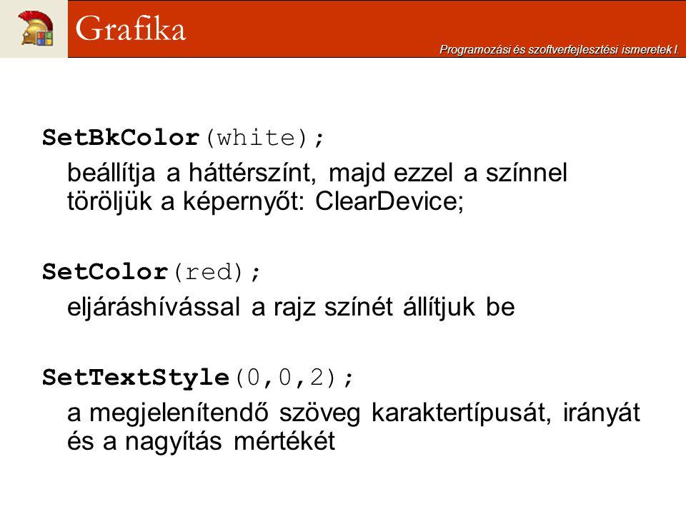 SetBkColor(white); beállítja a háttérszínt, majd ezzel a színnel töröljük a képernyőt: ClearDevice; SetColor(red); eljáráshívással a rajz színét állít