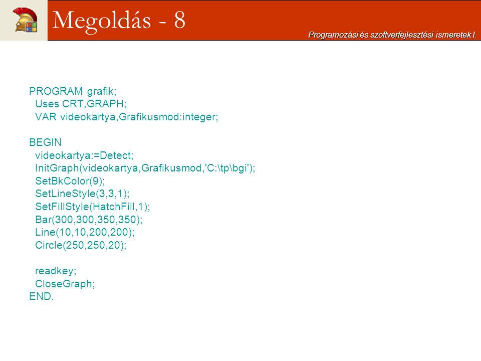 PROGRAM grafik; Uses CRT,GRAPH; VAR videokartya,Grafikusmod:integer; BEGIN videokartya:=Detect; InitGraph(videokartya,Grafikusmod,'C:\tp\bgi'); SetBkC