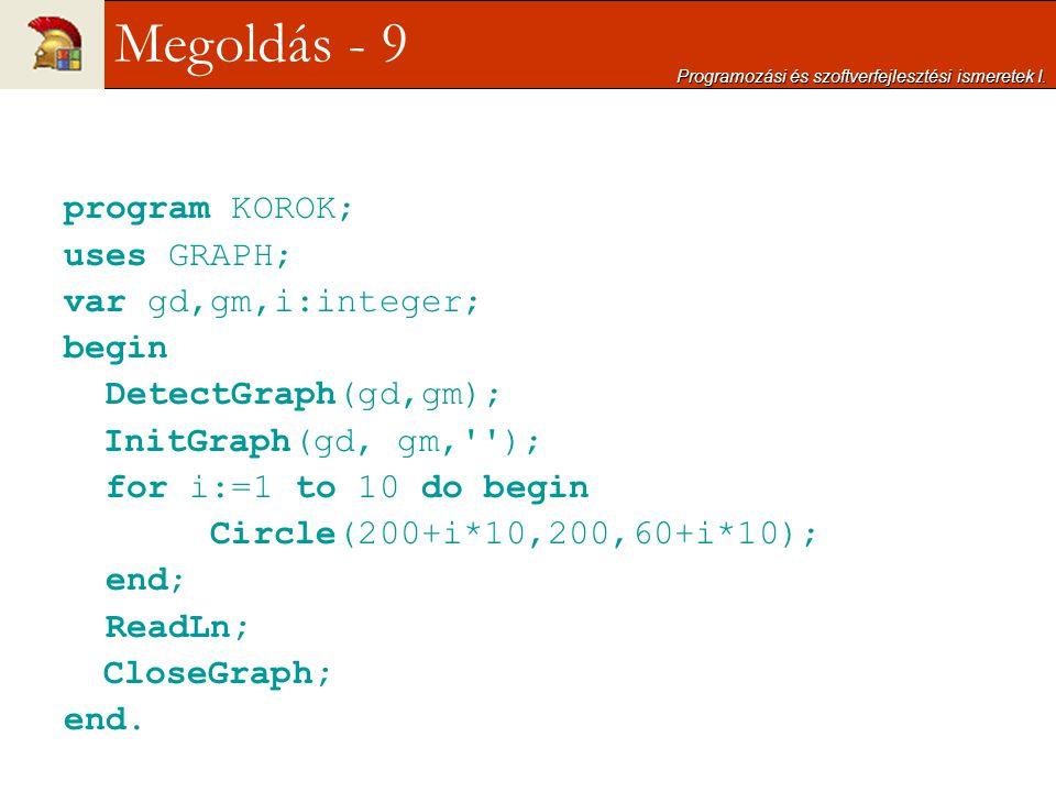 program KOROK; uses GRAPH; var gd,gm,i:integer; begin DetectGraph(gd,gm); InitGraph(gd, gm,''); for i:=1 to 10 do begin Circle(200+i*10,200,60+i*10);