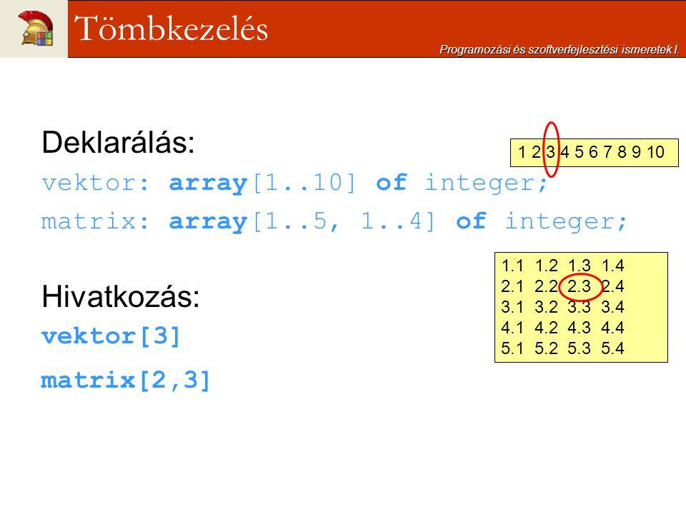 Deklarálás: vektor: array[1..10] of integer; matrix: array[1..5, 1..4] of integer; Hivatkozás: vektor[3] matrix[2,3] Programozási és szoftverfejleszté