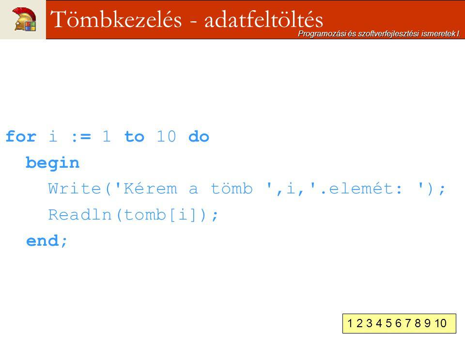 for i := 1 to 10 do begin Write('Kérem a tömb ',i,'.elemét: '); Readln(tomb[i]); end; Programozási és szoftverfejlesztési ismeretek I. Tömbkezelés - a