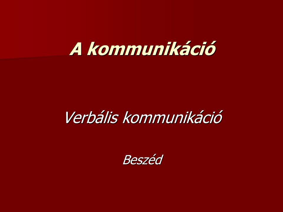 verbális kommunikáció (szóbeli, szavakban megnyilatkozó, nyelvi kódokat alkalmazó) verbális kommunikáció (szóbeli, szavakban megnyilatkozó, nyelvi kódokat alkalmazó) a nyelvi jelekkel történő közlés (verbális kommunikáció) megvalósulhat szóban és írásban a nyelvi jelekkel történő közlés (verbális kommunikáció) megvalósulhat szóban és írásban a szemtől szembeni kommunikáció 60-80 százaléka nem verbális csatornákon folyik, a szóbeliségé csak a fennmaradó 20-40 százalék a szemtől szembeni kommunikáció 60-80 százaléka nem verbális csatornákon folyik, a szóbeliségé csak a fennmaradó 20-40 százalék