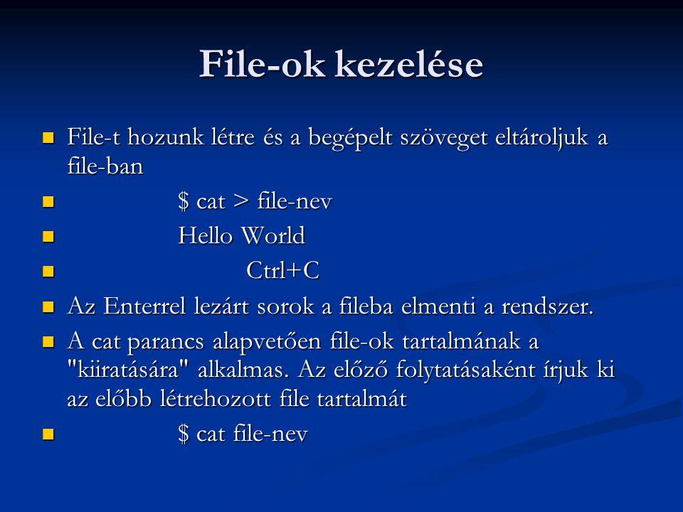 File-ok kezelése File-t hozunk létre és a begépelt szöveget eltároljuk a file-ban File-t hozunk létre és a begépelt szöveget eltároljuk a file-ban $ c