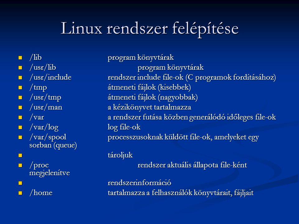 Linux rendszer felépítése /libprogram könyvtárak /libprogram könyvtárak /usr/libprogram könyvtárak /usr/libprogram könyvtárak /usr/includerendszer inc