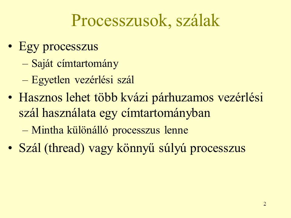 13 Felhasználói szintű szálak, hátrányok A szálnak önként kell feladnia a futását –Nincs óra megszakítás a szálhoz –Együttműködő többszálas programozás Nem használja ki ha több CPU van a gépben Ha egy szál blokkolt, akkor az egész processzus blokkolt, hiszen a kernel semmit nem tud a szálakról