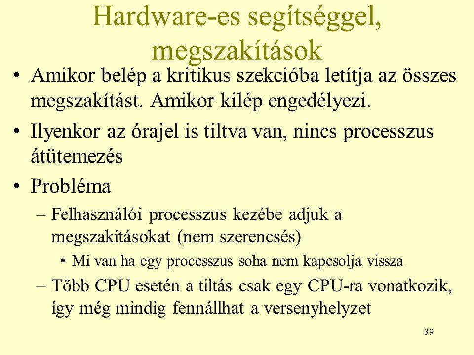 39 Hardware-es segítséggel, megszakítások Amikor belép a kritikus szekcióba letítja az összes megszakítást.
