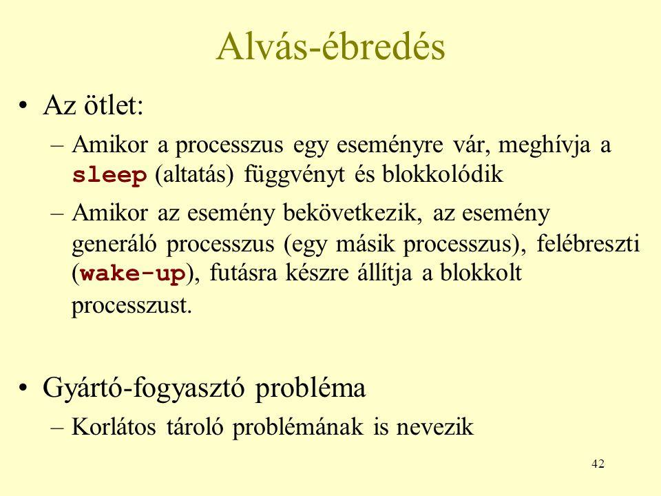 42 Alvás-ébredés Az ötlet: –Amikor a processzus egy eseményre vár, meghívja a sleep (altatás) függvényt és blokkolódik –Amikor az esemény bekövetkezik, az esemény generáló processzus (egy másik processzus), felébreszti ( wake-up ), futásra készre állítja a blokkolt processzust.