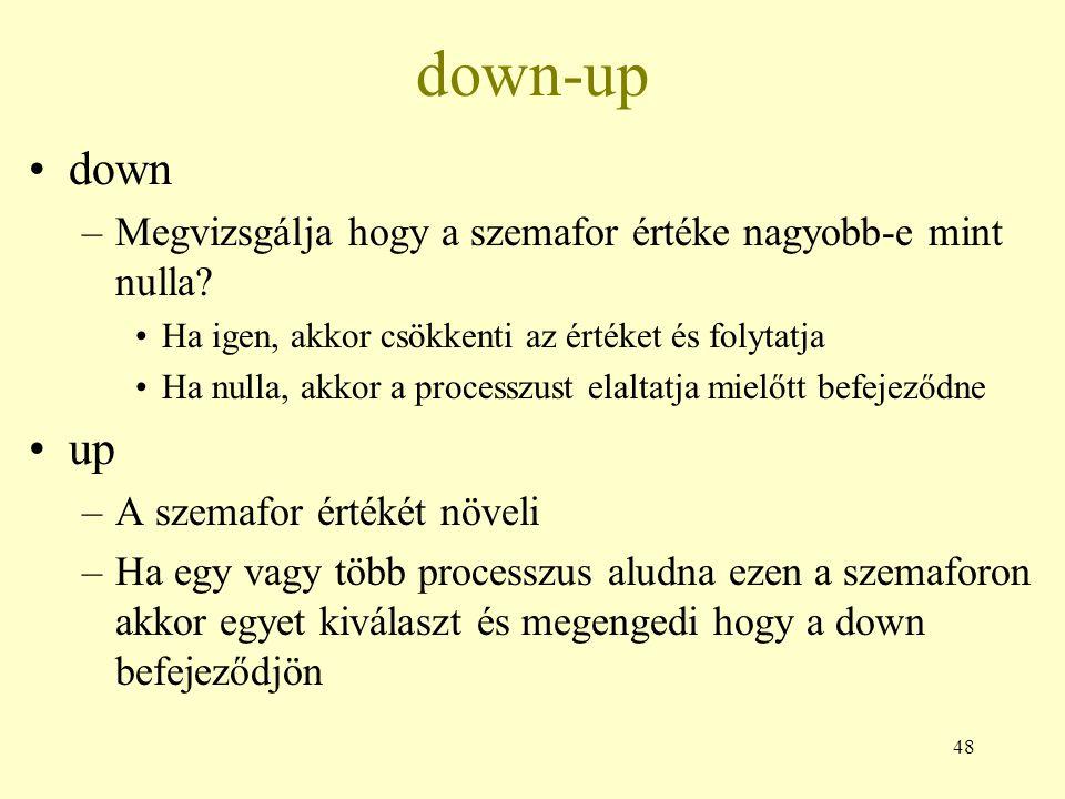 48 down-up down –Megvizsgálja hogy a szemafor értéke nagyobb-e mint nulla.