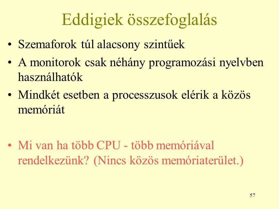 57 Eddigiek összefoglalás Szemaforok túl alacsony szintűek A monitorok csak néhány programozási nyelvben használhatók Mindkét esetben a processzusok elérik a közös memóriát Mi van ha több CPU - több memóriával rendelkezünk.