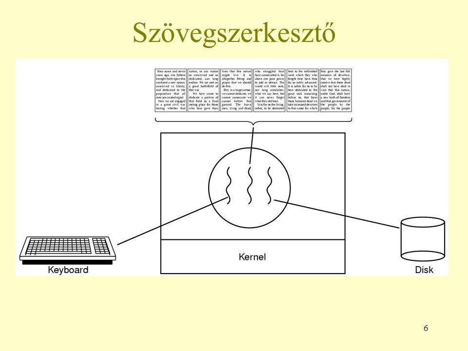 7 Többszálas Web böngésző Sok weblap tartalmaz több kis képet A böngészőnek minden képért külön kapcsolatot kell kiépítenie a lapot tároló számítógéppel A kapcsolatok felépítése és bontása sok idő A böngésző több szál használatával több képet kérhet le egyszerre