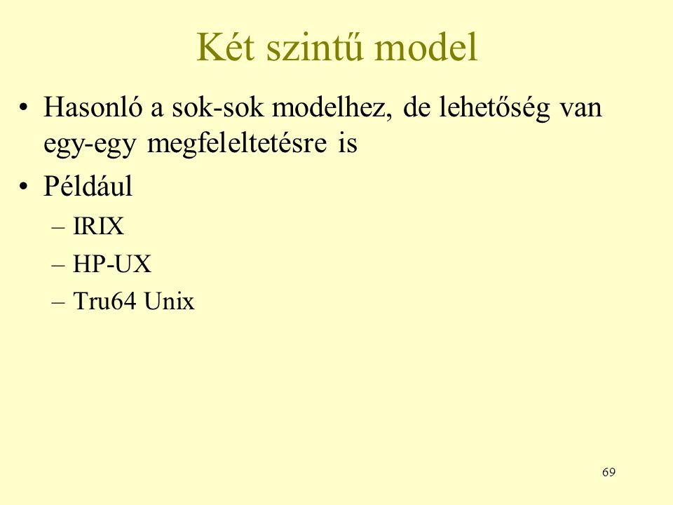 69 Két szintű model Hasonló a sok-sok modelhez, de lehetőség van egy-egy megfeleltetésre is Például –IRIX –HP-UX –Tru64 Unix