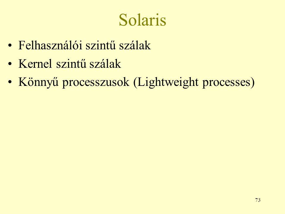 73 Solaris Felhasználói szintű szálak Kernel szintű szálak Könnyű processzusok (Lightweight processes)