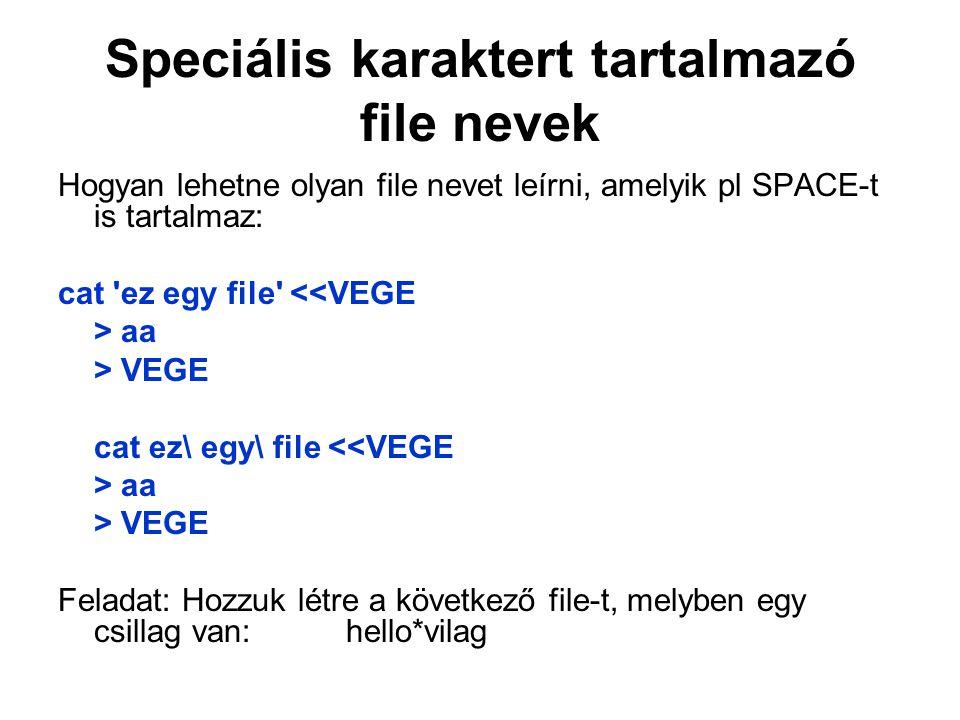 Speciális karaktert tartalmazó file nevek Hogyan lehetne olyan file nevet leírni, amelyik pl SPACE-t is tartalmaz: cat ez egy file <<VEGE > aa > VEGE cat ez\ egy\ file <<VEGE > aa > VEGE Feladat: Hozzuk létre a következő file-t, melyben egy csillag van: hello*vilag