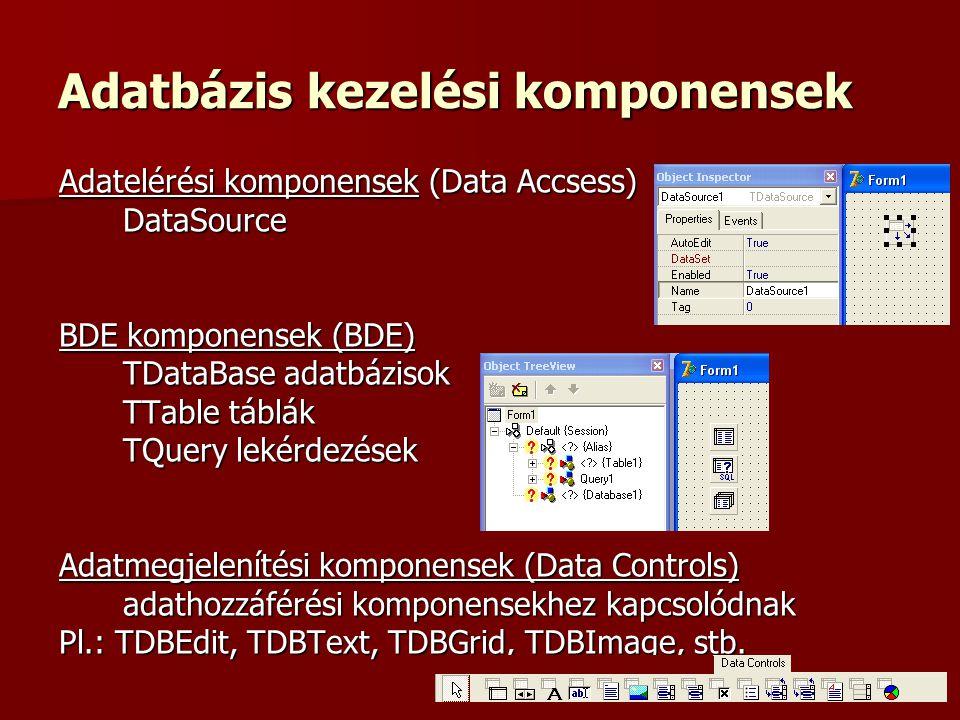 Adatbázis kezelési komponensek Adatelérési komponensek (Data Accsess) DataSource BDE komponensek (BDE) TDataBase adatbázisok TTable táblák TQuery lekérdezések Adatmegjelenítési komponensek (Data Controls) adathozzáférési komponensekhez kapcsolódnak Pl.: TDBEdit, TDBText, TDBGrid, TDBImage, stb.
