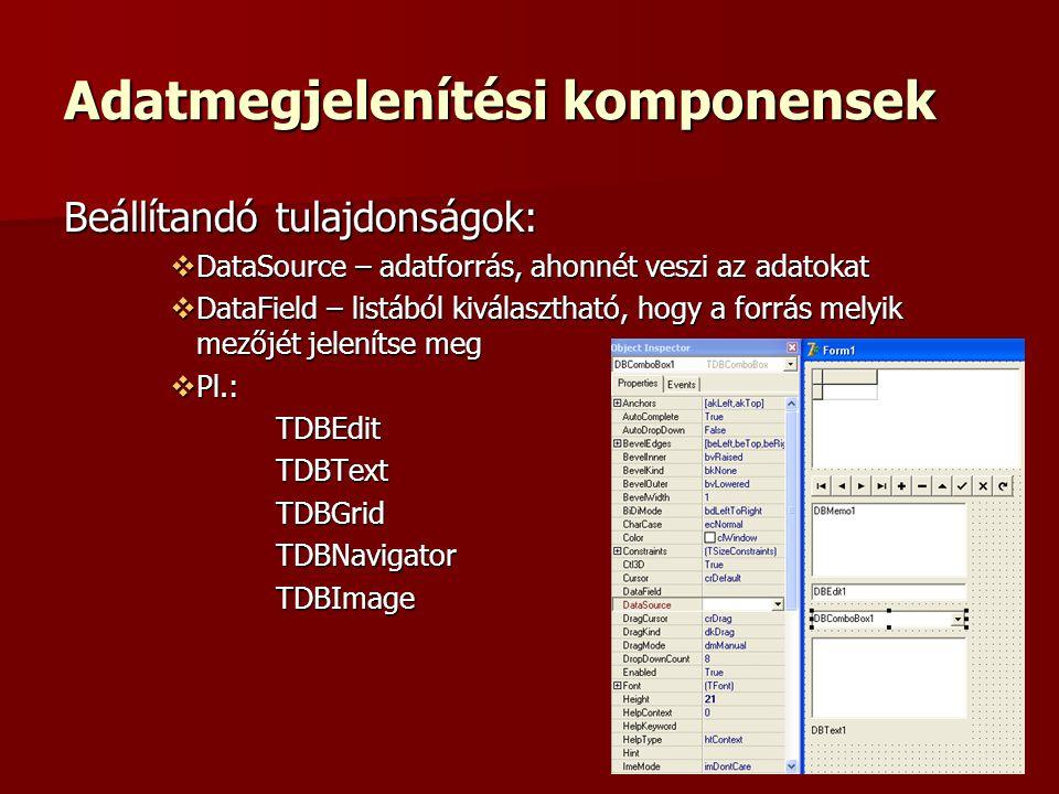 Adatmegjelenítési komponensek Beállítandó tulajdonságok:  DataSource – adatforrás, ahonnét veszi az adatokat  DataField – listából kiválasztható, hogy a forrás melyik mezőjét jelenítse meg  Pl.: TDBEditTDBTextTDBGridTDBNavigatorTDBImage