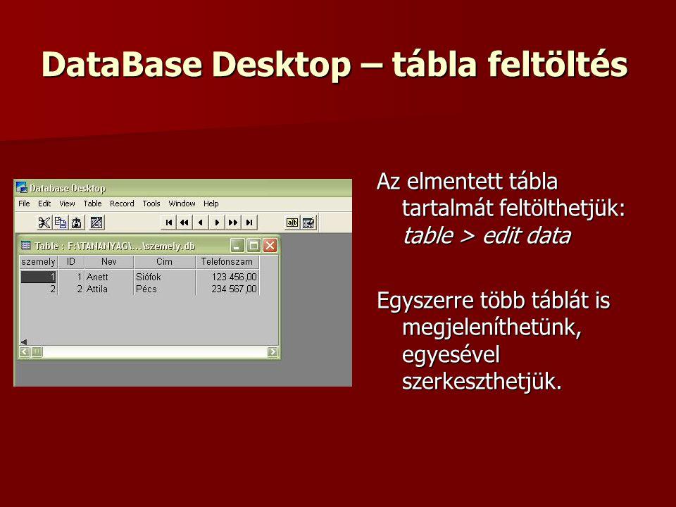 DataBase Desktop – tábla feltöltés Az elmentett tábla tartalmát feltölthetjük: table > edit data Egyszerre több táblát is megjeleníthetünk, egyesével szerkeszthetjük.