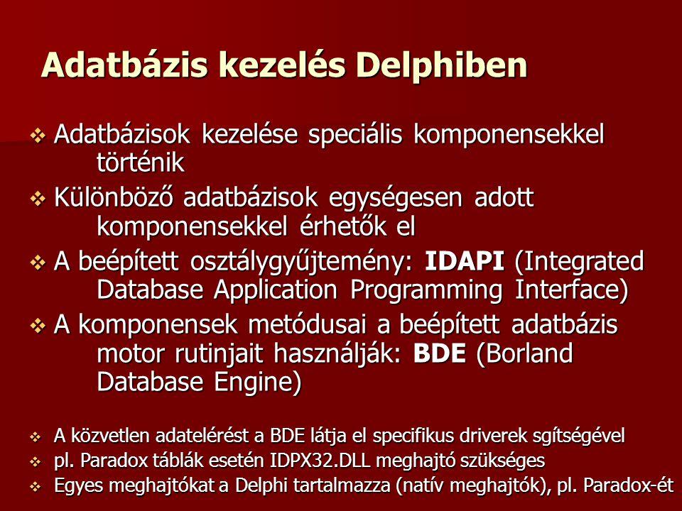 Adatbázis kezelés Delphiben  Adatbázisok kezelése speciális komponensekkel történik  Különböző adatbázisok egységesen adott komponensekkel érhetők el  A beépített osztálygyűjtemény: IDAPI (Integrated Database Application Programming Interface)  A komponensek metódusai a beépített adatbázis motor rutinjait használják: BDE (Borland Database Engine)  A közvetlen adatelérést a BDE látja el specifikus driverek sgítségével  pl.