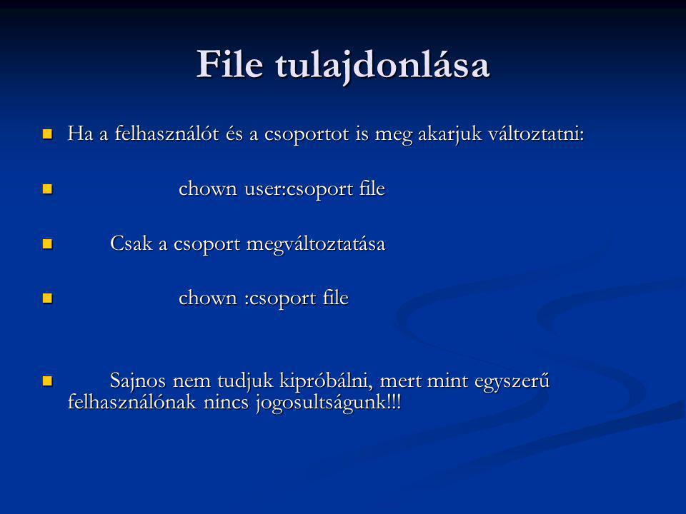 File tulajdonlása Ha a felhasználót és a csoportot is meg akarjuk változtatni: Ha a felhasználót és a csoportot is meg akarjuk változtatni: chown user:csoport file chown user:csoport file Csak a csoport megváltoztatása Csak a csoport megváltoztatása chown :csoport file chown :csoport file Sajnos nem tudjuk kipróbálni, mert mint egyszerű felhasználónak nincs jogosultságunk!!.