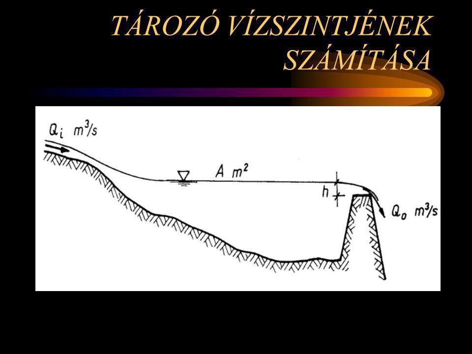 a vízszintingadozás tartományában konstans felületűnek tekinthető felülről egy patak táplálja a leeresztés egy fix koronaszintű, állandó szélességű bukón történik, szabad átbukással tározó vízszintje horizontálisnak tekinthető (Q i, és Q 0 vízhozamok olyan kicsik) Feltételek