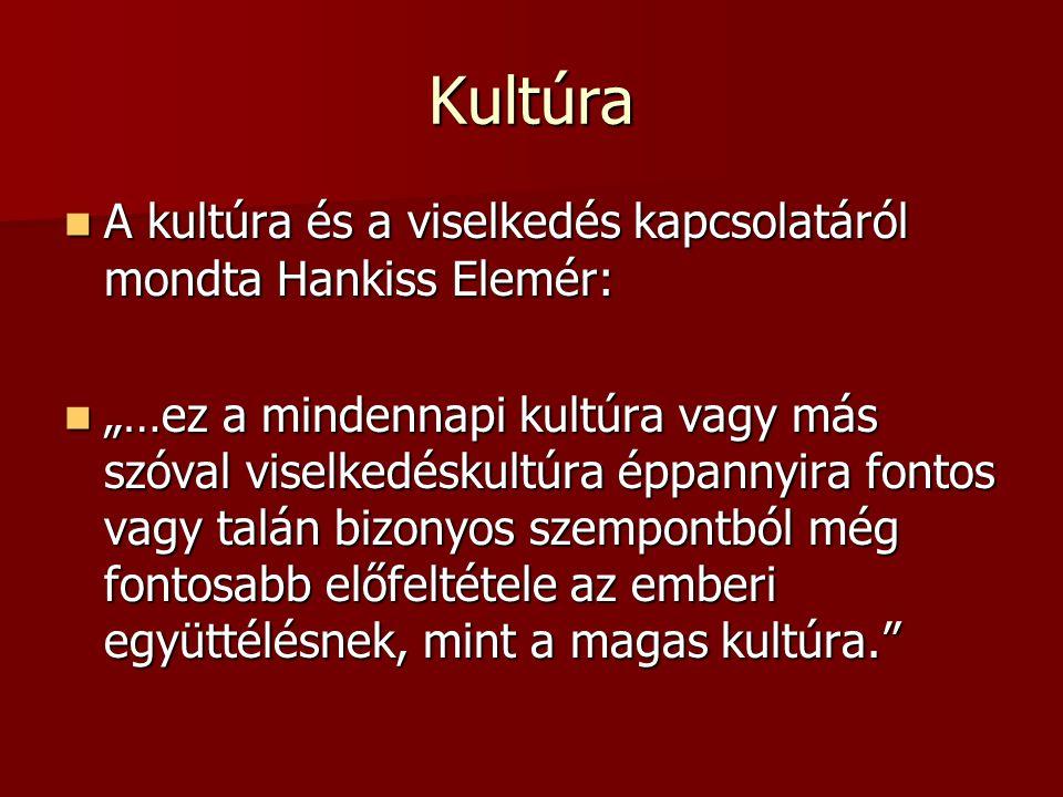 """Kultúra A kultúra és a viselkedés kapcsolatáról mondta Hankiss Elemér: A kultúra és a viselkedés kapcsolatáról mondta Hankiss Elemér: """"…ez a mindennap"""
