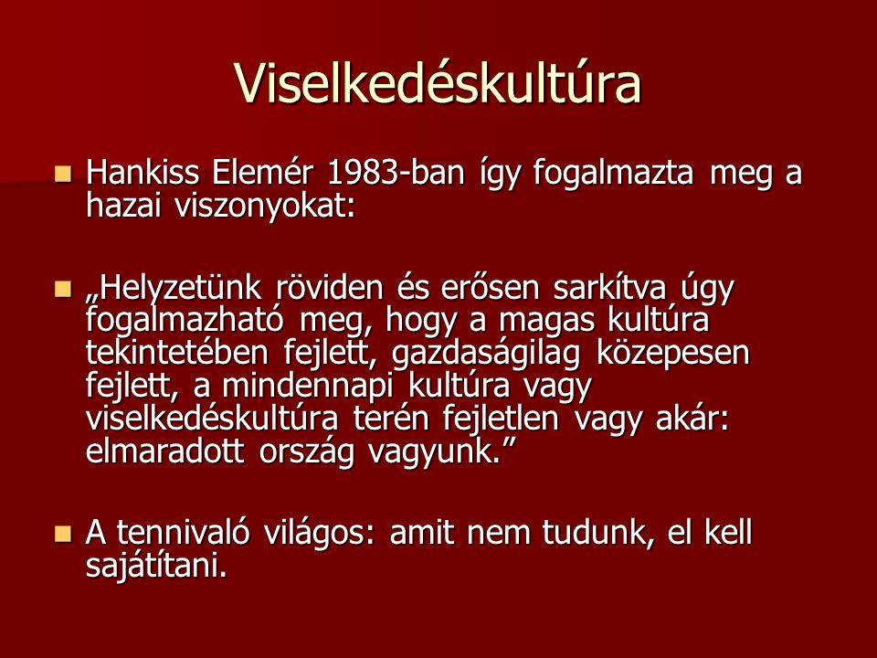 """Viselkedéskultúra Hankiss Elemér 1983-ban így fogalmazta meg a hazai viszonyokat: Hankiss Elemér 1983-ban így fogalmazta meg a hazai viszonyokat: """"Hel"""