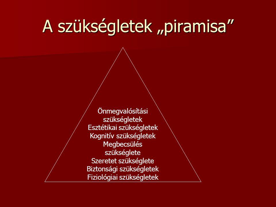 """A szükségletek """"piramisa"""" Önmegvalósítási szükségletek Esztétikai szükségletek Kognitív szükségletek Megbecsülés szükséglete Szeretet szükséglete Bizt"""