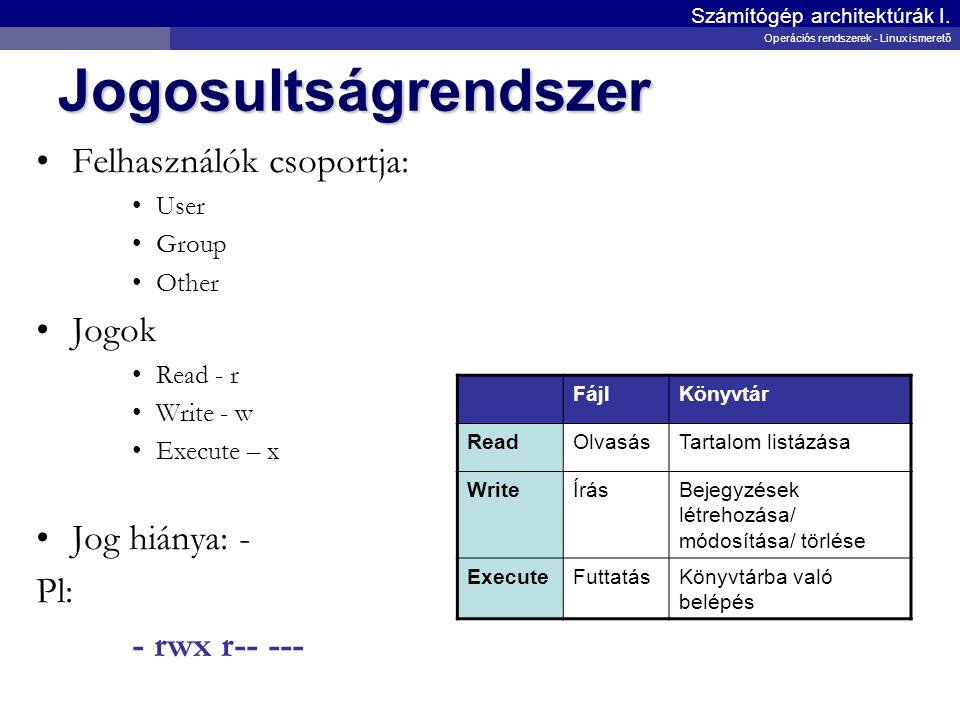 Jogosultságrendszer Felhasználók csoportja: User Group Other Jogok Read - r Write - w Execute – x Jog hiánya: - Pl: - rwx r-- --- Számítógép architekt