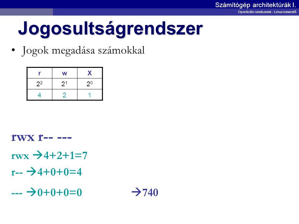 Jogosultságrendszer Jogok megadása számokkal rwx r-- --- rwx  4+2+1=7 r--  4+0+0=4 ---  0+0+0=0  740 Számítógép architektúrák I. Operációs rendsze