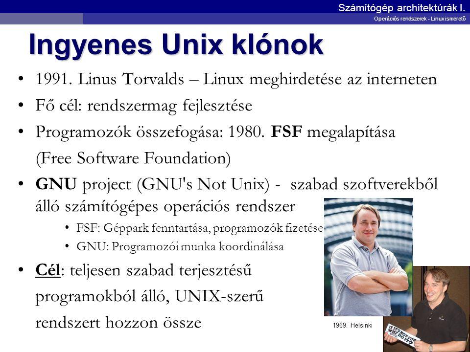 Ingyenes Unix klónok 1991. Linus Torvalds – Linux meghirdetése az interneten Fő cél: rendszermag fejlesztése Programozók összefogása: 1980. FSF megala