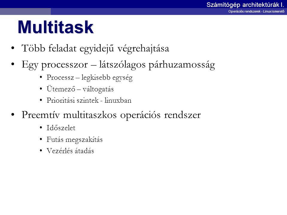 Multiuser Több felhasználó egyidejű kiszolgálása Több bejelentkezés Jogok definiálása, ellenőrzése Adminisztrátor - root Számítógép architektúrák I.