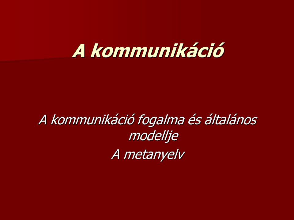 A kommunikáció A kommunikáció fogalma és általános modellje A metanyelv