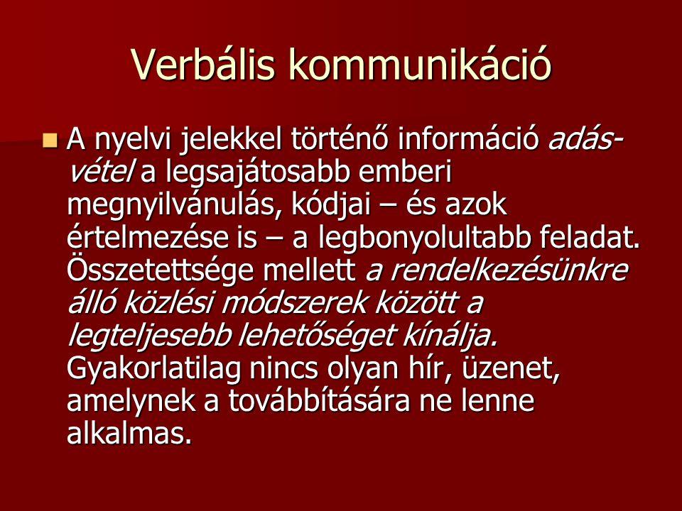 Verbális kommunikáció A nyelvi jelekkel történő információ adás- vétel a legsajátosabb emberi megnyilvánulás, kódjai – és azok értelmezése is – a legb