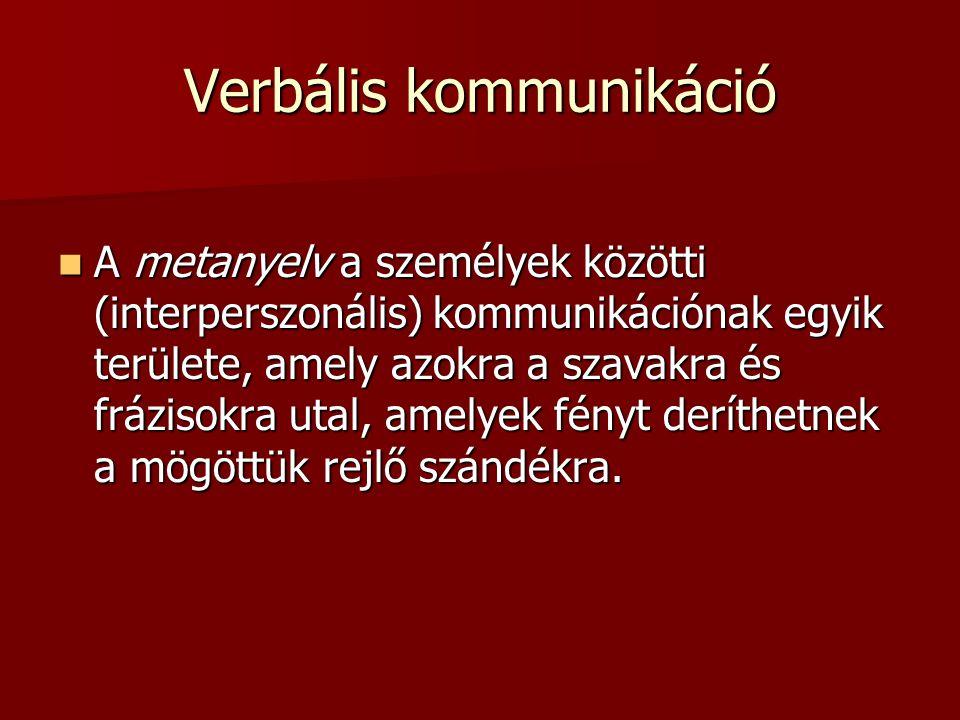Verbális kommunikáció A metanyelv a személyek közötti (interperszonális) kommunikációnak egyik területe, amely azokra a szavakra és frázisokra utal, a