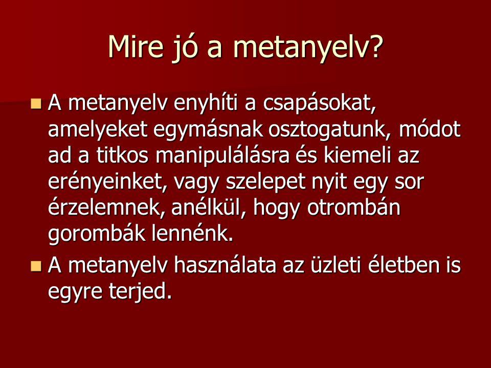Mire jó a metanyelv? A metanyelv enyhíti a csapásokat, amelyeket egymásnak osztogatunk, módot ad a titkos manipulálásra és kiemeli az erényeinket, vag