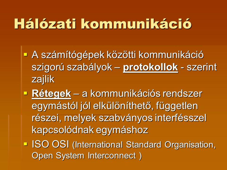 Hálózati kommunikáció  A számítógépek közötti kommunikáció szigorú szabályok – protokollok - szerint zajlik  Rétegek – a kommunikációs rendszer egymástól jól elkülöníthető, független részei, melyek szabványos interfésszel kapcsolódnak egymáshoz  ISO OSI (International Standard Organisation, Open System Interconnect )