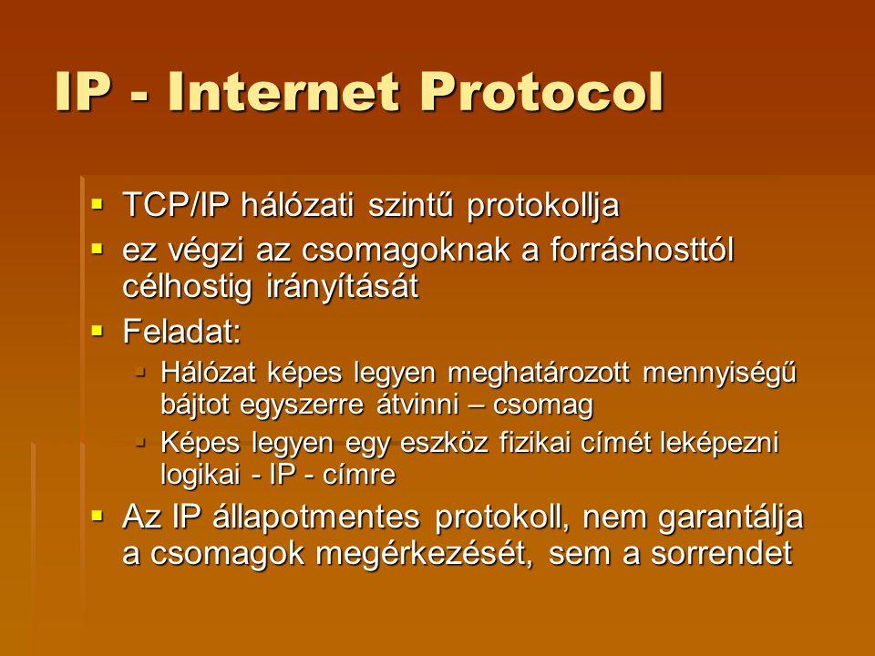 IP - Internet Protocol  TCP/IP hálózati szintű protokollja  ez végzi az csomagoknak a forráshosttól célhostig irányítását  Feladat:  Hálózat képes legyen meghatározott mennyiségű bájtot egyszerre átvinni – csomag  Képes legyen egy eszköz fizikai címét leképezni logikai - IP - címre  Az IP állapotmentes protokoll, nem garantálja a csomagok megérkezését, sem a sorrendet