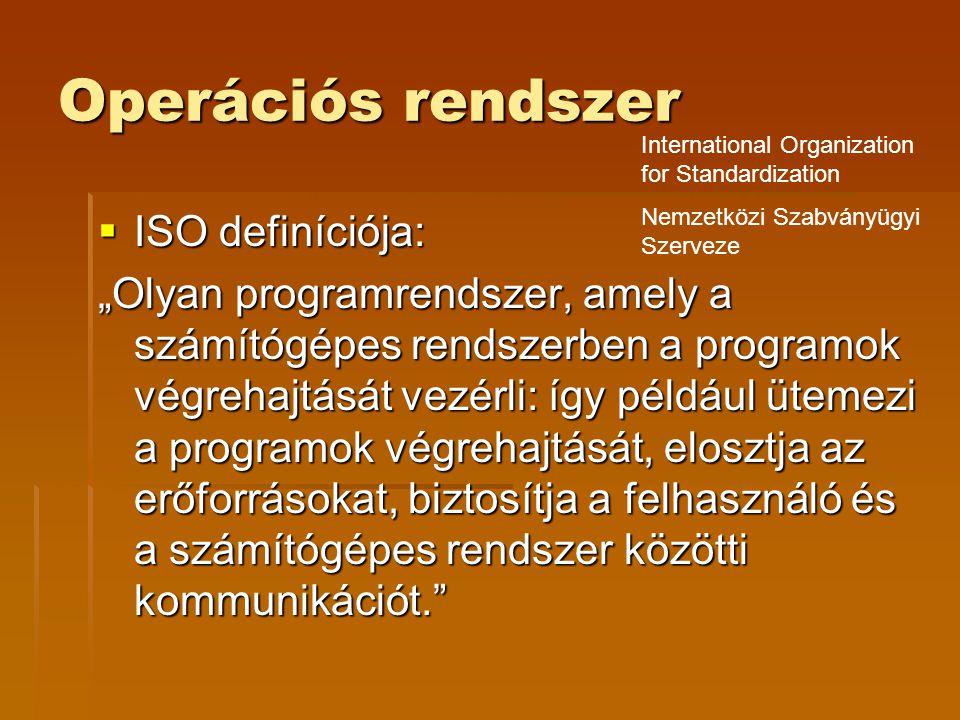 """Operációs rendszer  ISO definíciója: """"Olyan programrendszer, amely a számítógépes rendszerben a programok végrehajtását vezérli: így például ütemezi a programok végrehajtását, elosztja az erőforrásokat, biztosítja a felhasználó és a számítógépes rendszer közötti kommunikációt. International Organization for Standardization Nemzetközi Szabványügyi Szerveze"""