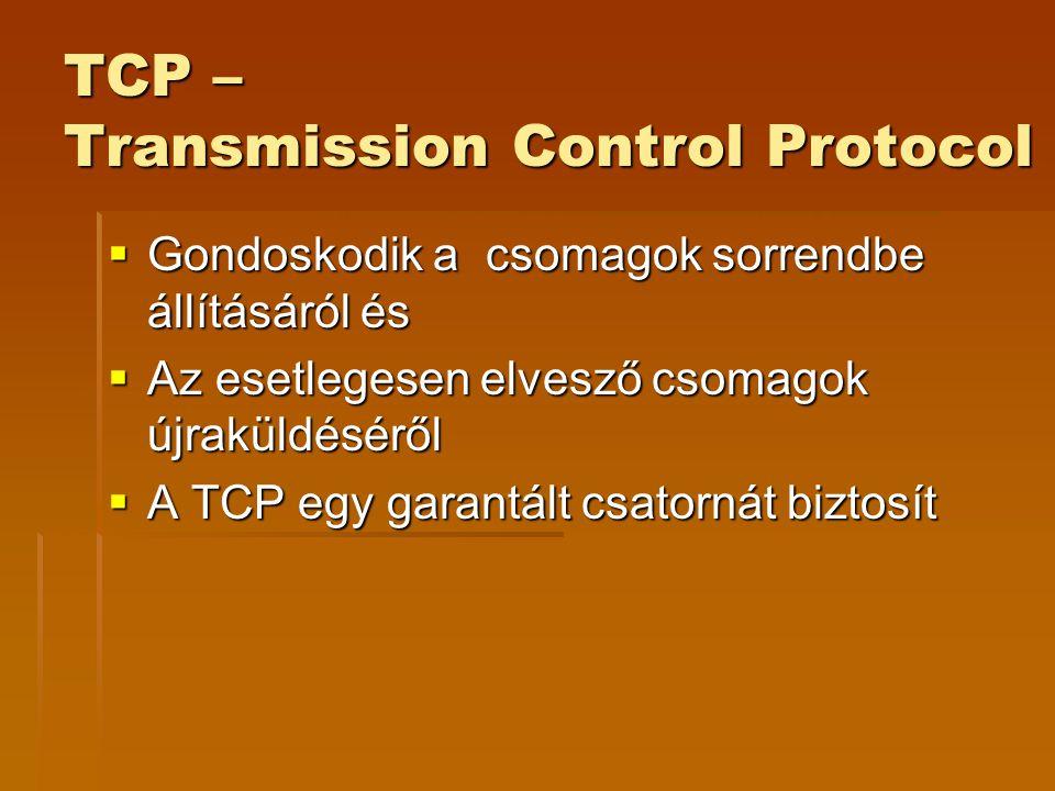 TCP – Transmission Control Protocol  Gondoskodik a csomagok sorrendbe állításáról és  Az esetlegesen elvesző csomagok újraküldéséről  A TCP egy garantált csatornát biztosít
