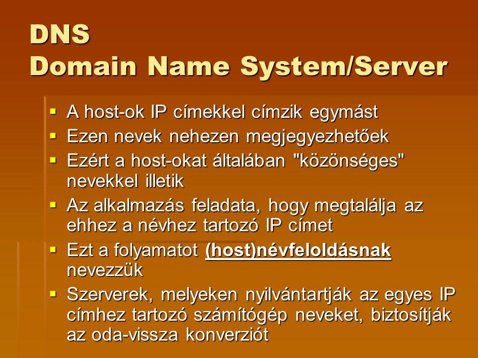 DNS Domain Name System/Server  A host-ok IP címekkel címzik egymást  Ezen nevek nehezen megjegyezhetőek  Ezért a host-okat általában közönséges nevekkel illetik  Az alkalmazás feladata, hogy megtalálja az ehhez a névhez tartozó IP címet  Ezt a folyamatot (host)névfeloldásnak nevezzük  Szerverek, melyeken nyilvántartják az egyes IP címhez tartozó számítógép neveket, biztosítják az oda-vissza konverziót