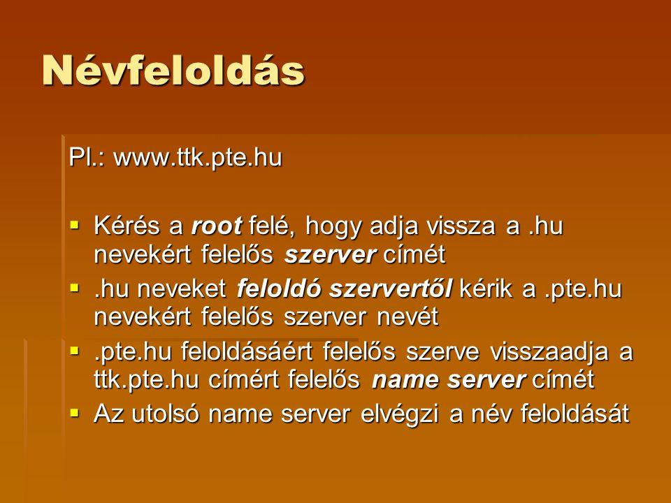 Névfeloldás Pl.: www.ttk.pte.hu  Kérés a root felé, hogy adja vissza a.hu nevekért felelős szerver címét .hu neveket feloldó szervertől kérik a.pte.hu nevekért felelős szerver nevét .pte.hu feloldásáért felelős szerve visszaadja a ttk.pte.hu címért felelős name server címét  Az utolsó name server elvégzi a név feloldását