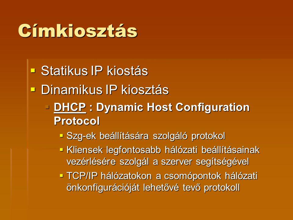 Címkiosztás  Statikus IP kiostás  Dinamikus IP kiosztás  DHCP : Dynamic Host Configuration Protocol  Szg-ek beállítására szolgáló protokol  Kliensek legfontosabb hálózati beállításainak vezérlésére szolgál a szerver segítségével  TCP/IP hálózatokon a csomópontok hálózati önkonfigurációját lehetővé tevő protokoll