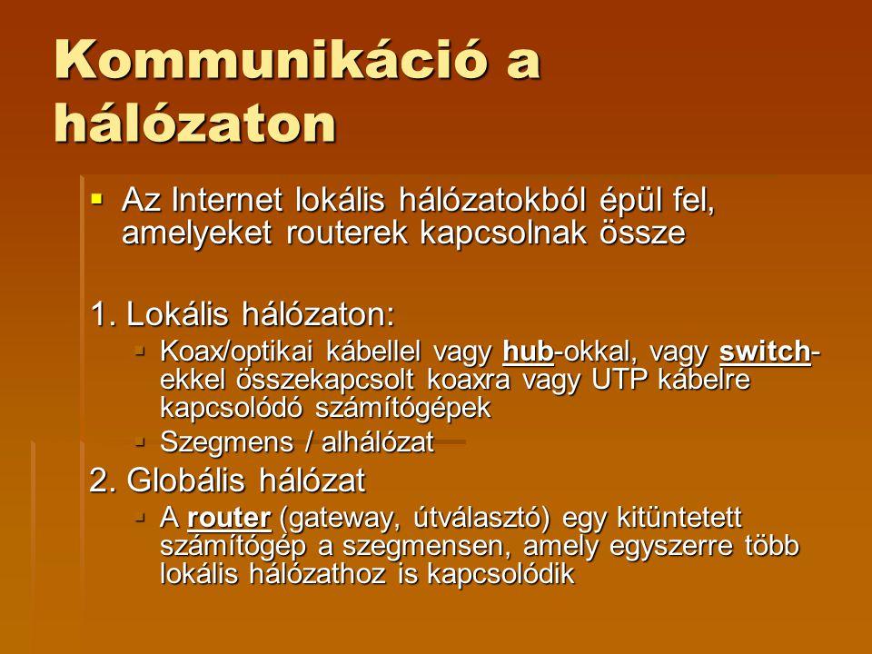 Kommunikáció a hálózaton  Az Internet lokális hálózatokból épül fel, amelyeket routerek kapcsolnak össze 1.